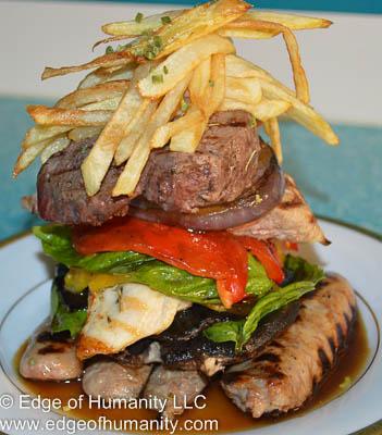 Grilled sausage, chicken, pork, filet and portobello mushroom.