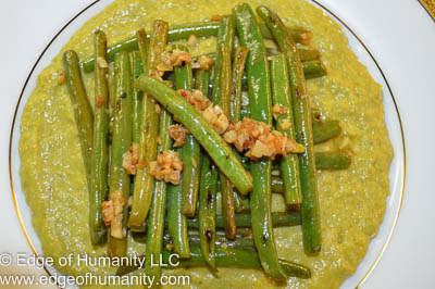 Cream of asparagus and french beans.