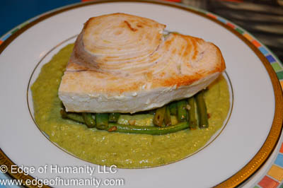Swordfish, french beans and cream of asparagus.