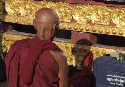 Buddhist Monk, Kyaiktiyo Pagoda, Myanmar