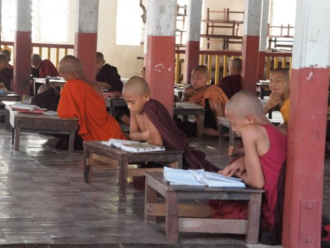 Buddhist Monks learning, Maha Kalyani Sima (ordination hall), Bago, Myanmar