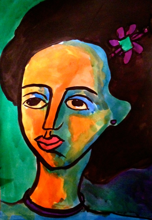 Blue & Orange Face'ink on paper