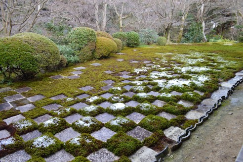 Hojyo Garden, Tofuku-ji Temple. Northern Garden of the Hasso Garden. The design of the block checked patterned moss are very modern.