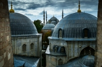 View from the first floor of Hagia Sophia over to Sultanahmet Camii, commonly known as the Blue Mosque.