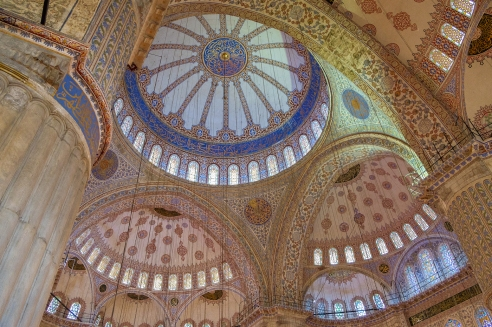 Sultanahmet Camii - the incomparable and breathtaking interior of the Blue Mosque.
