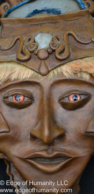 Mask adorned with glass eye and animal hair. Rio de Janeiro, Brazil.