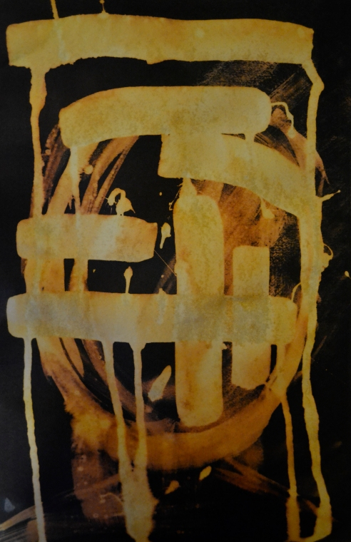 Switching it around by painting bleach onto ink instead, creating something more controlled.
