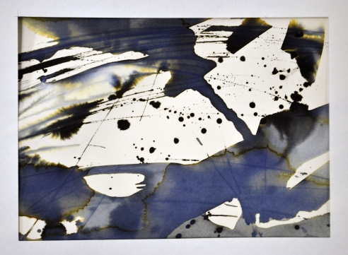 Diluted Quink ink and turpentine, gestural painting.