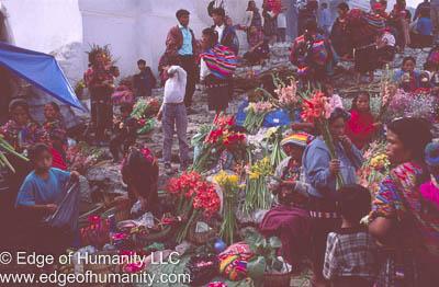 Very busy flower market - Guatemala.
