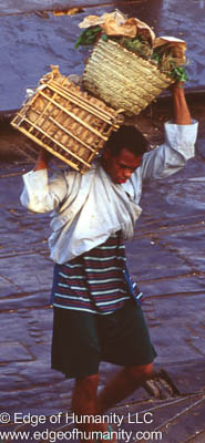 Man carrying two baskets over his shoulders - Egypt.