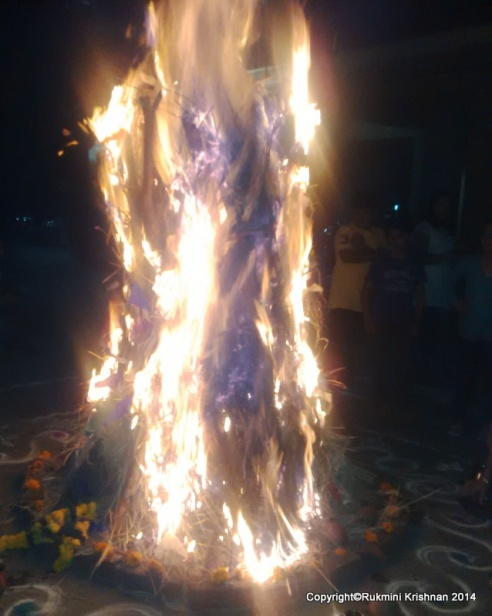 Photographer: Rukmini Krishnan. Pyre on fire during Holika. Click on the image to read more about daily life in India.