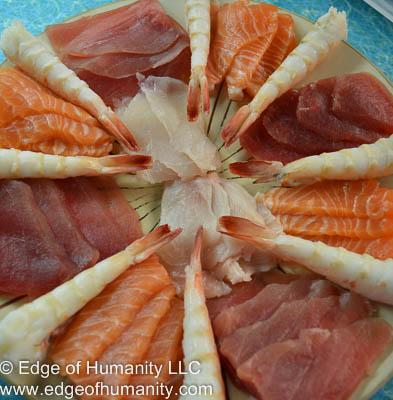Tuna, Salmon, swordfish and shrimp.