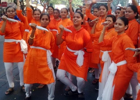 Women demonstrating self defense tactics - Gudi Padva Carnival - India