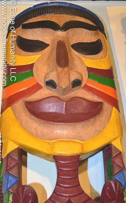 Hand carved and painted wood mask - Amazon Region - Brazil