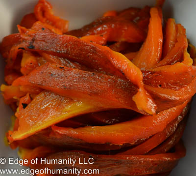 Roasted red peppers.