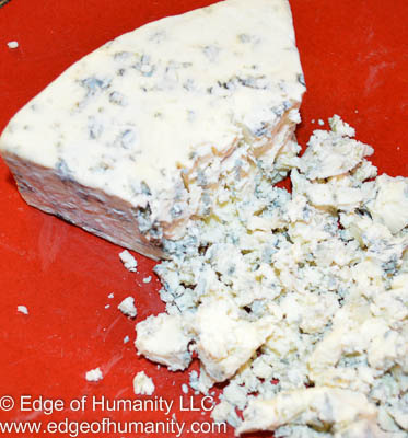 Crumbly Gorgonzola blue-cheese.