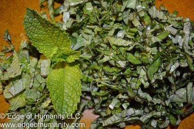 Chopped mint and basil.