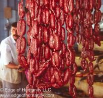 Butcher and sausage, Syria.