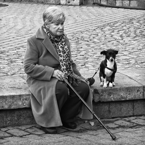 Faithful Friends Krakow, Poland I just liked how the two subjects were posed; I felt that the dog's attention was focused on protecting his mistress.
