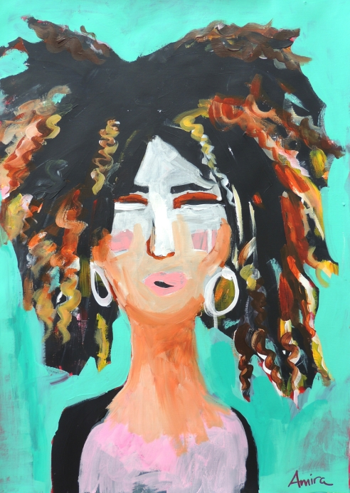 """Mimi"" Acrylics on paper."