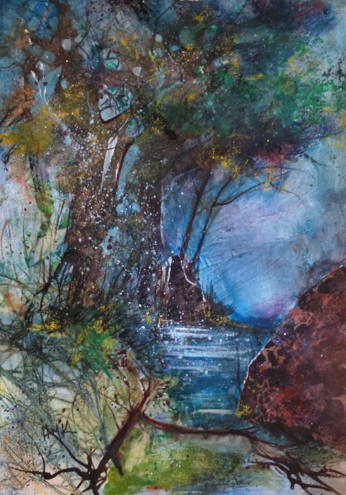 Woodland Stream: Mixed media piece on paper