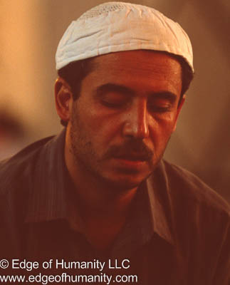 Man in the Umayyad Mosque, Damascus, Syria.