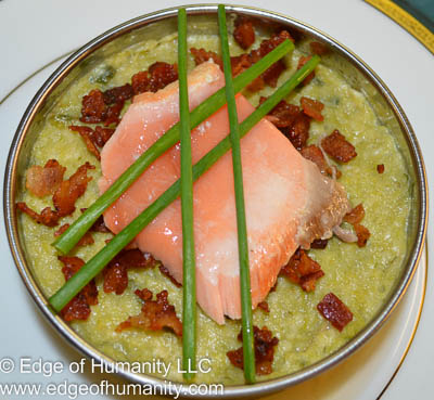 Add scallions to the top of the salmon for garnish.
