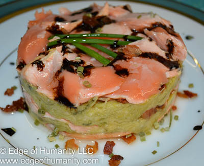 Salmon and leek pureé garnished with bacon bits, dry chives and balsamic reduction.