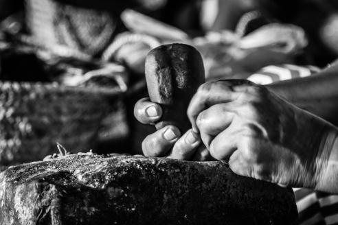 Processing argan nuts - Morocco.