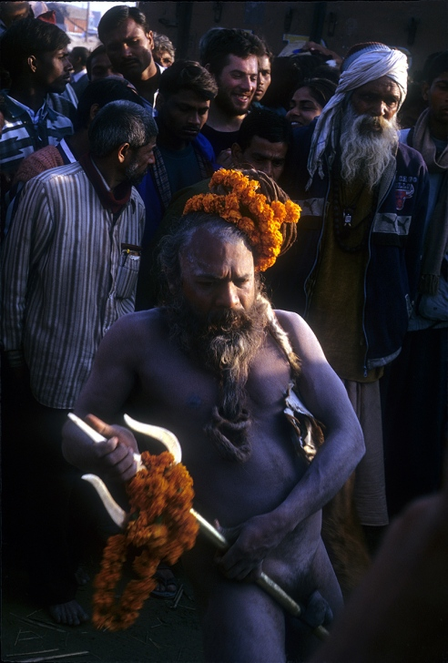A holyman demonstrates Yoga to eastablish how Yogis control desire, during Kumbh at Allahabad.