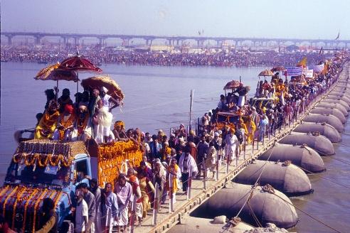 Procession of Akharas moving towards Sangam for taking a dip during Kumbh at Allahabad.