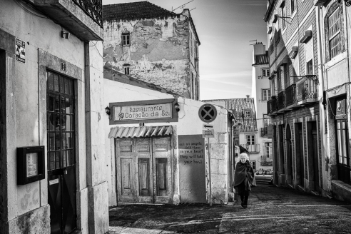 Parish Woman walking Alfama, Lisbon