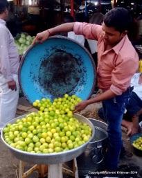 The sorted lemons being stored  - Jambli Naka, Thane, Mumbai, India.