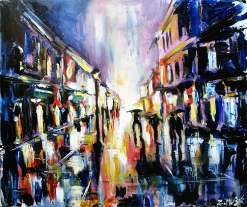 City street in rain ( acrylic on canvas )
