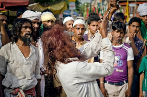 Head fakir of Assam society performs,Delhi,India