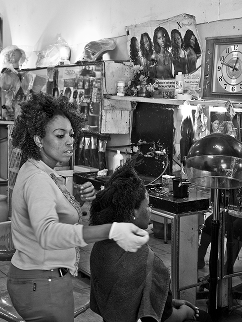 """THE streets"" A simple shot in a hair-salon in downtown Johannesburg."