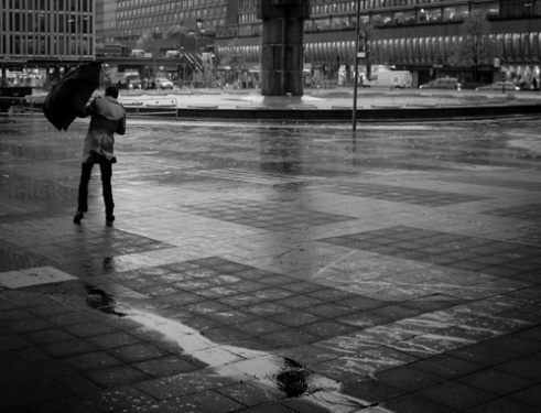 """Man and wind"" Sergels Torg, Stockholm, Sweden"