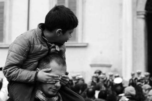 """""""On Dad's shoulder"""" Rome, Italy"""