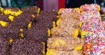 More 'kuih' with colorful sprinkles. Ramadan bazaar at Semenyih Sentral, Selangor, Malaysia