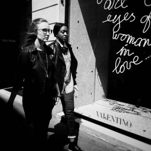 Woman in love Valentino Store, Via Montenapoleone, Milan, Italy