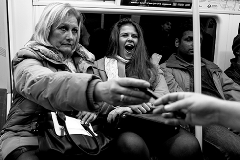 Jubilee Line Tube Train near North Greenwich, London, UK