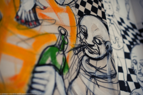 Artist in residence - Mateo Evans - daubs the walls of Tragaluz restaurant in the Miraflores district of Lima. Peru's emerging arts scene is gaining momentum throughout Latin America, and is attracting global attention. The Barranco district of Lima is abuzz with artists and creatives.