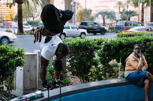 The handstand whistler. Las Vegas, USA