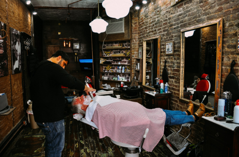 The barber in East Village New York City, USA