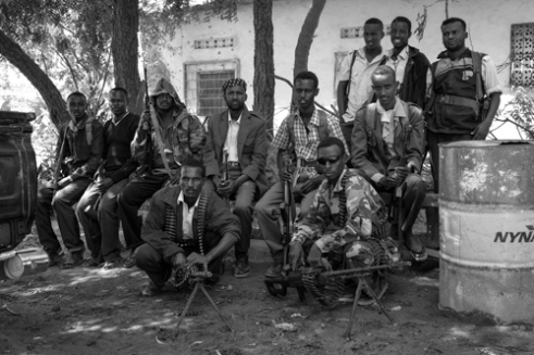 Soldiers of Somalia's TFG (Transitional Federal Government) outside the TFG base station in the Hodan District of Mogadishu, Somalia.