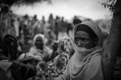 Newly arrived refugees at the Badbaado IDP Camp awaiting registration. The Badaado Camp is located in the Dharkenly District and is the largest in Mogadishu