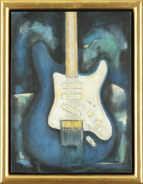 JOHN ILLSLEY BLUE STRATOCASTER OIL ON CANVAS 451/2 X 61 CM
