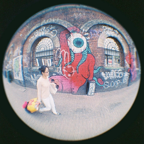Fish eyeball Shoreditch, London, England