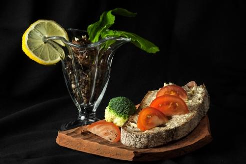 Garnish with a twist open sandwich