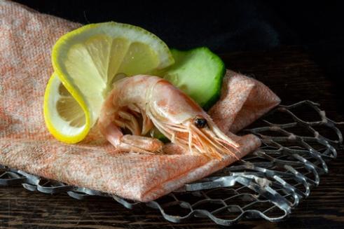 Garnish with a twist -prawn on mesh